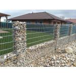 Gabionový plot - 0,8 m, d. 2,5m, š. 20-40 cm, oko 5x20 cm, sloupek 2x1,2m + komponenty